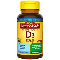 Nature Made Extra Strength Vitamin D3 5000 IU (125 mcg) Softgels, 180 Count for...
