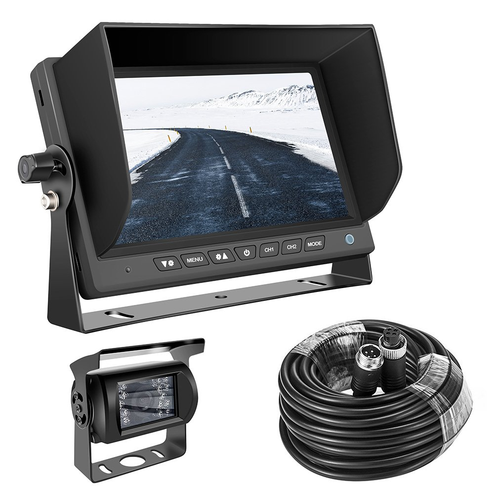 Backup camera truck GERI Waterproof rear view camera system 12V 24V HD CCD(WIRED) + 7'' TFT LCD Color HD Screen Display Monitor