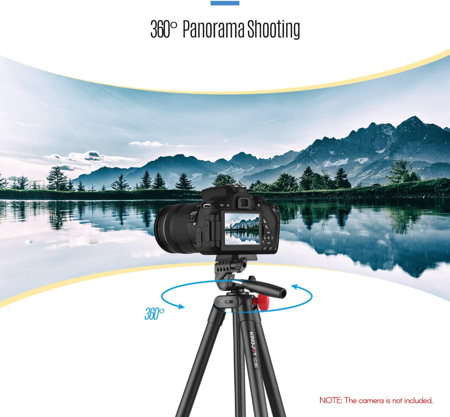 Height 135cm with Carry Bag Black Baugger VT-831 Portable Lightweight Photography Tripod Stand Aluminum Alloy 1//4 Inch Screw Connector 2kg Load Capacity Max