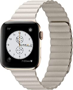 Compatible with Apple Watch Band 44mm 42mm 40mm 38mm - Enhanced Adjustable Leather Strap with Magnetic Closure System for iWatch Series 5/4/3/2/1