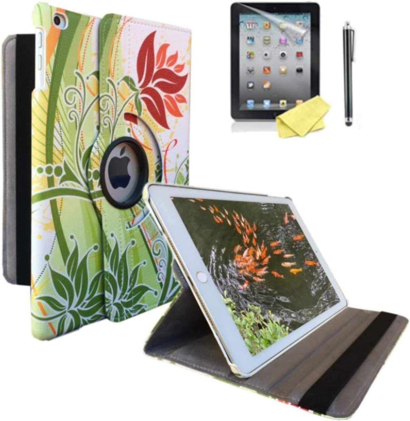 iPad Air 1st Generation case Compatible Models A1474 A1475A1476 MD785LL/A MD876LL/A 360 Rotating Stand with Wake Up/Sleep Function (Orange Flower)