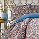 2 Piece Multi Color Twin Size Duvet Cover Set, Vibrant Blue Red Indigo Southwest Theme Bohemian Geometric Medallion Pattern Bedding Shabby Chic Casual Modern, Microfiber Polyester