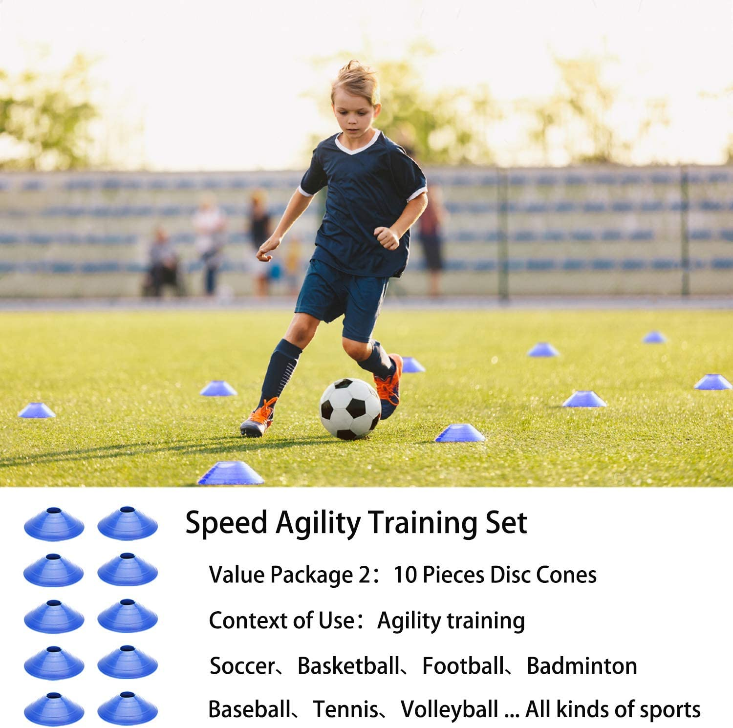 Speed Training Equipment for Soccer Football Basketball 1 Sports Headband 4 Steel Stakes 10 Disc Cones and Gym Carry Bag 1 Jump Rope Includes 1 Agility Ladder Speed Agility Training Set