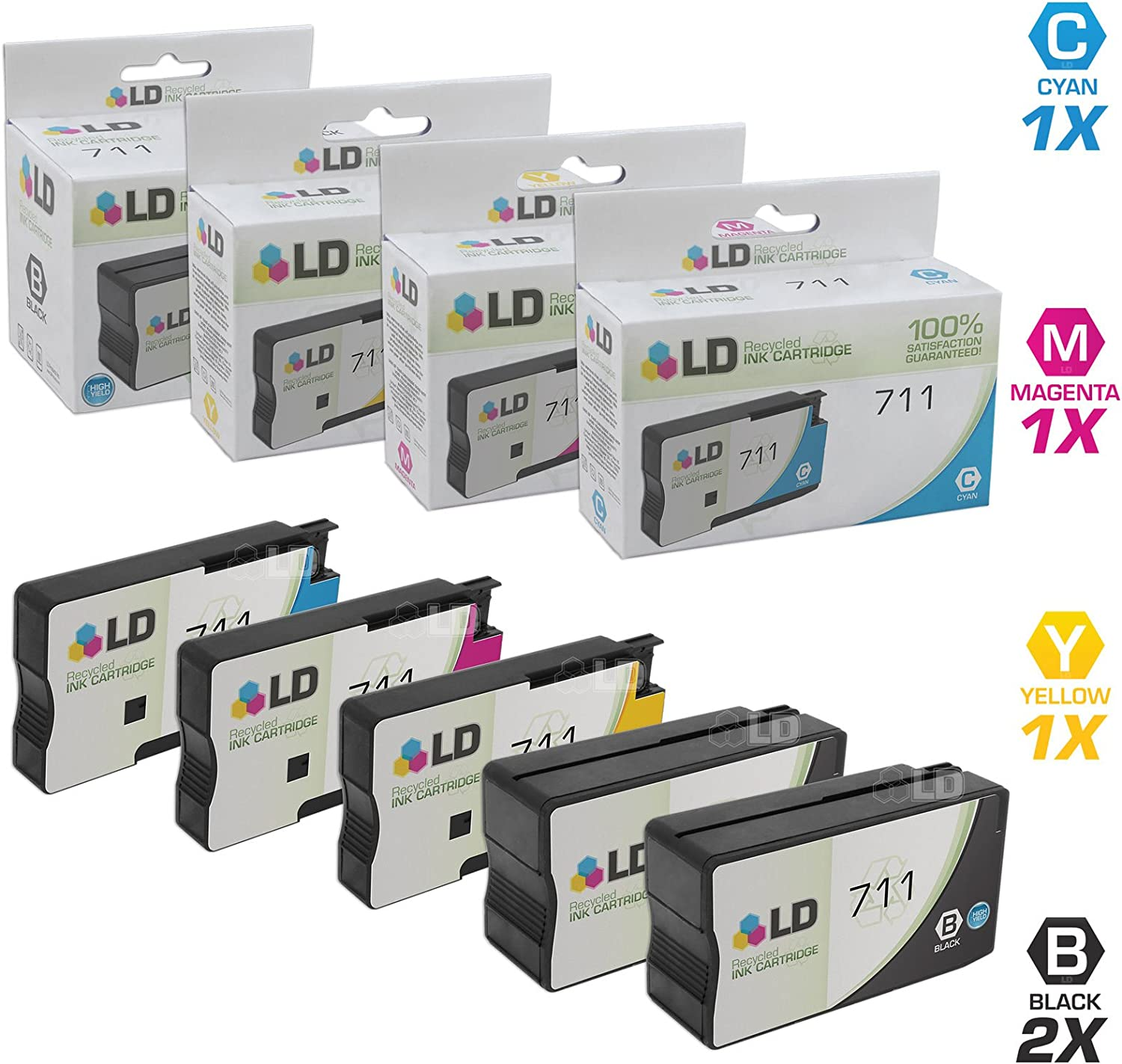 LD Remanufactured Ink Cartridge Replacement for HP 711 (2 Black, 1 Cyan, 1 Magenta, 1 Yellow, 5-Pack)