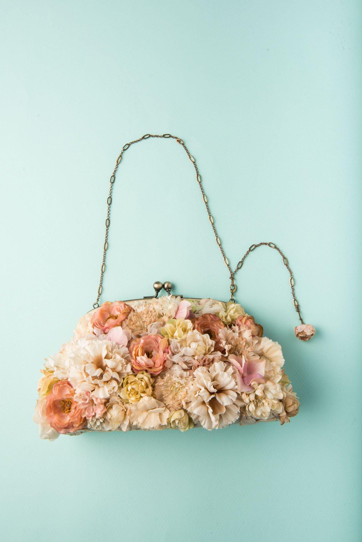 Bridal & Wedding Spring Flower Clutch | Cotton Flowers | Lace | Handmade in Japan