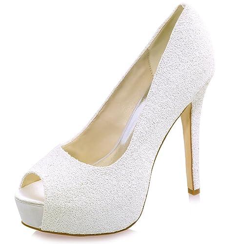 Elobaby Zapatos De Boda De Las Mujeres Que Brillan Las Sandalias del TamañO De Peep Toe