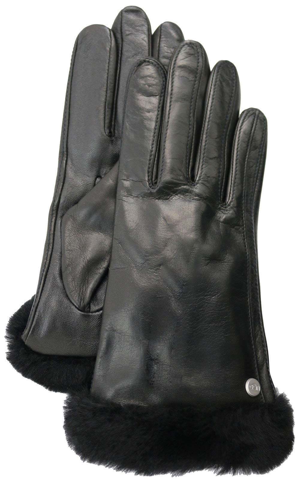 UGG Women's Classic Leather Shorty Tech Gloves Black 1 MD