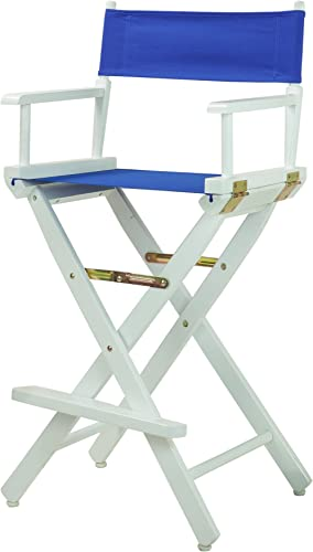 Casual Home Director s Chair ,White Frame Royal Blue Canvas,30 – Bar Height