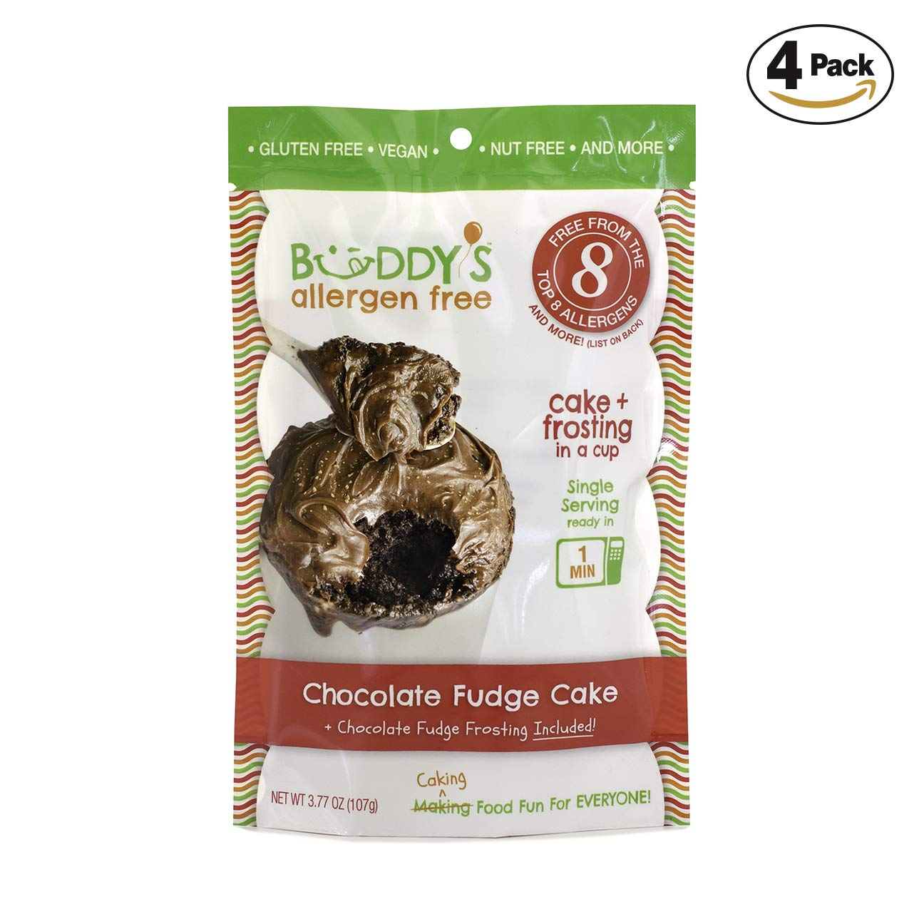 Buddy's Allergen Free: (CHOCOLATE FUDGE) Gluten Free Cakes - Frosting Included - Vegan Dessert - Nut Free Cakes - Top 8 Allergen Free Food - Nut Free Desserts - Mug Cakes - Gourmet Snack 4 PACK (16oz) by Buddy's Allergen Free