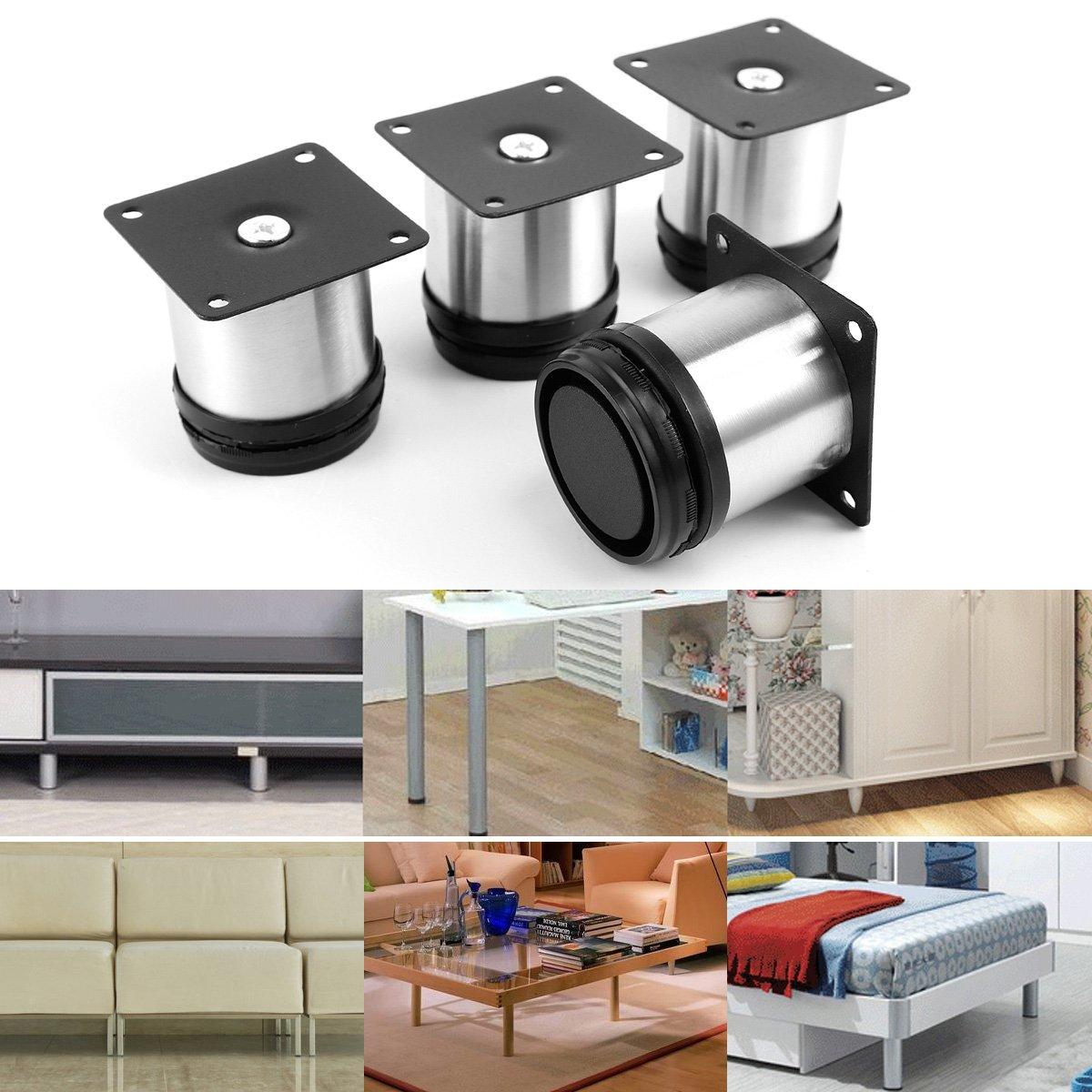 elegant x pied de meuble rglable acier inoxydable rond diamtre cm hauteur mm amazonfr bricolage. Black Bedroom Furniture Sets. Home Design Ideas
