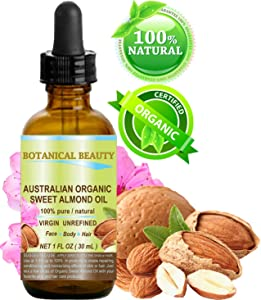 ORGANIC Sweet ALMOND OIL AUSTRALIAN 100% Pure/Virgin/Unrefined Cold Pressed Carrier Oil. 1 oz-30 ml. For Face, Hair and Body.