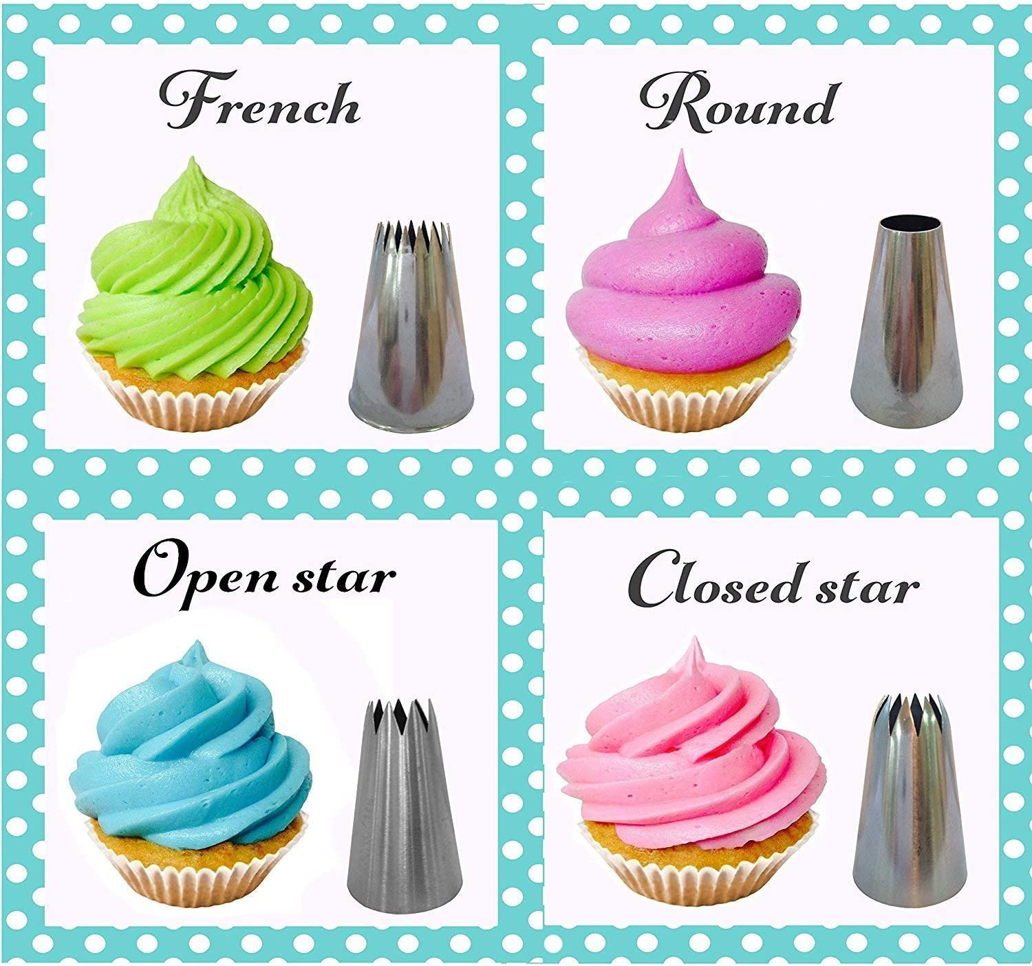 NiceMeet 4 Pcs Large Star Piping Nozzle Tips Set Ideal Big Stainless Steel Icing Nozzle DIY Tools for Cupcakes Pastry Cake Decorating #2