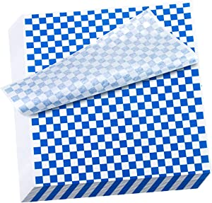 Hslife 100 Sheets Blue and White Checkered Dry Waxed Deli Paper Sheets, Paper Liners for Plasic Food Basket, Wrapping Bread and Sandwiches(11''x11.6'')