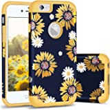 Casewind iPhone 6s Case Sunflower,iPhone 6 Case, Shiny Sunflower Case 2 in 1 Hard PC & Soft Silicone Hybrid Shockproof Rubber Bumper Anti-Scratch All-Around Protective iPhone 6 /6s Phone Case, Yellow