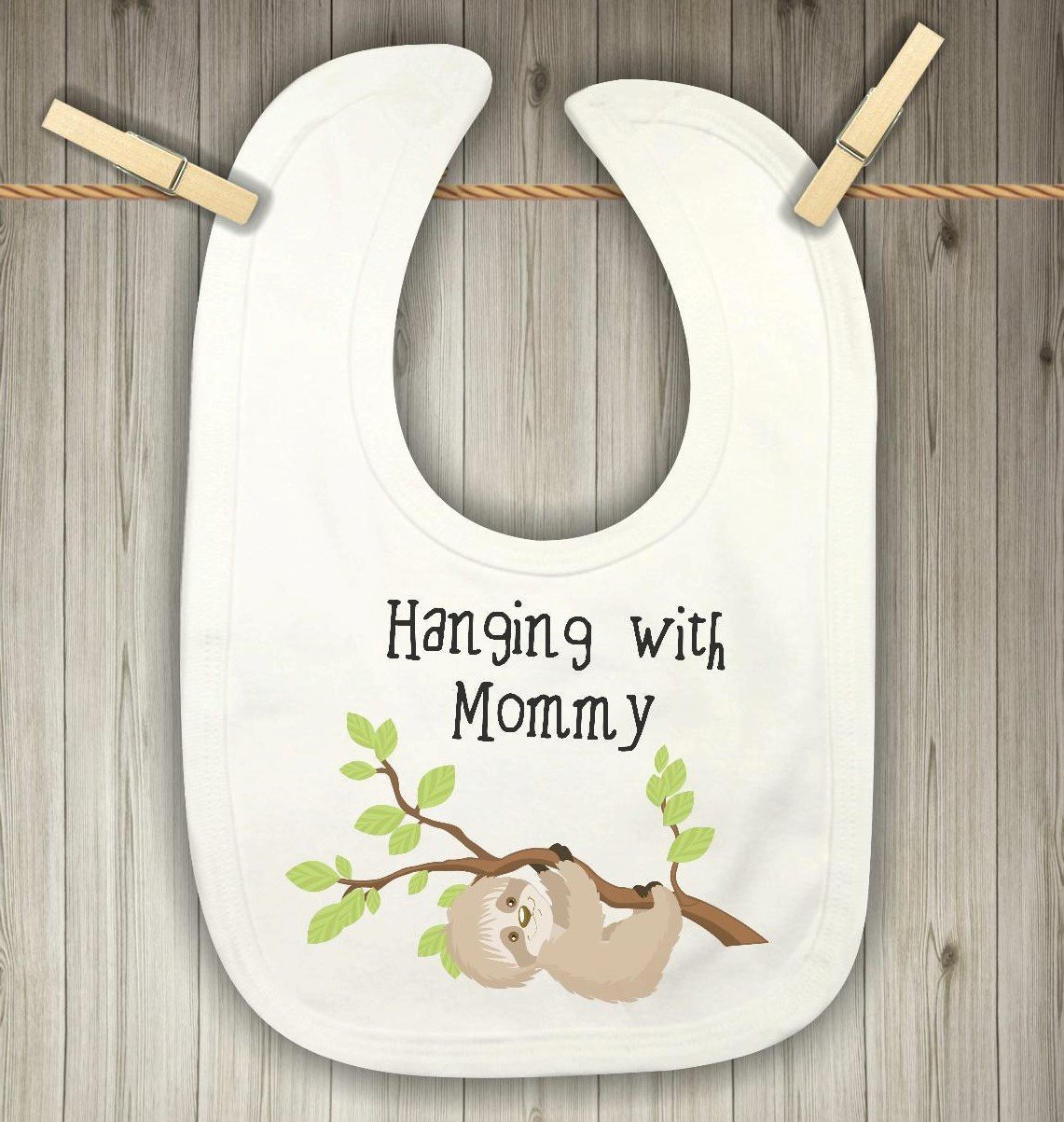 Baby Bib - Sloth Hanging with Mommy - Zoo Nursery Decor