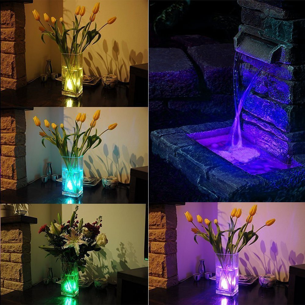Submersible LED Lights Remote Controlled, LUXJET Waterproof RGB Pond Light Color Changing, Battery Operated for Vase,Aquarium,Fish Tank,Table Centerpiece,Wedding, Party Event Decor Lighting, Pack of 2