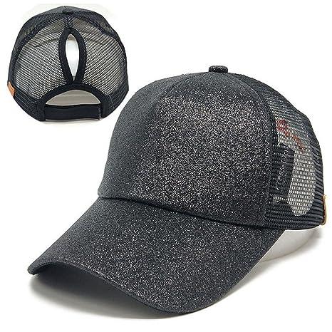 Gorra de béisbol de cola de caballo,An-sell 2018 Mujeres lentejuelas Sombrero de
