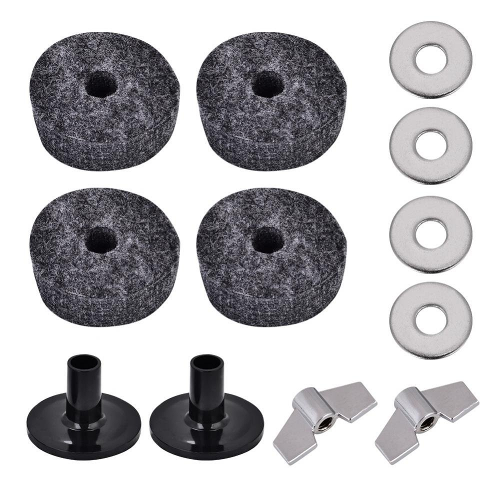 Dilwe 2Pcs Drum Cymbal Sleeve + 4Pcs 4cm Drum Cymbal Felt Washer + 2Pcs Wing Nut + 4Pcs Metal Pad Set by Dilwe
