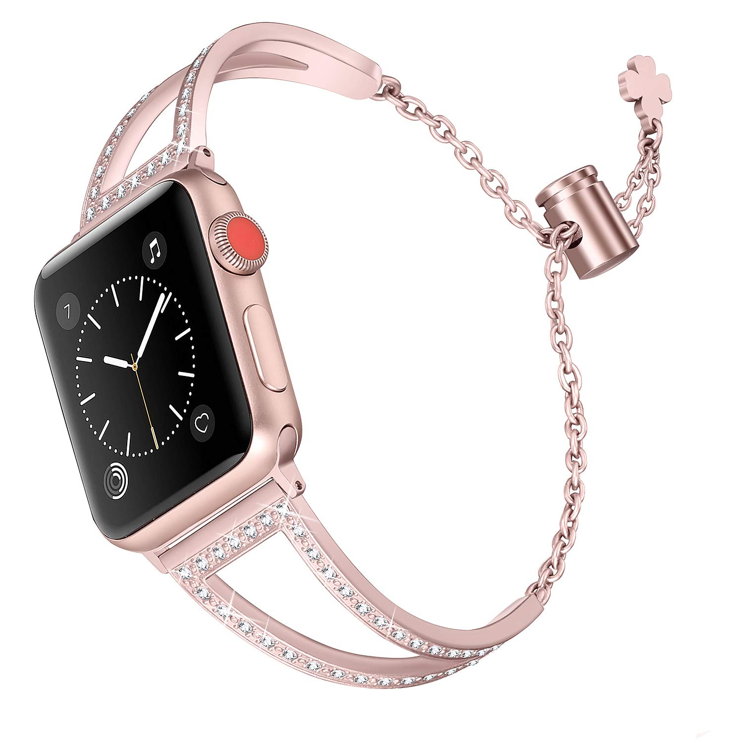 Secbolt Bling Bands Compatible Apple Watch Band 42mm 44mm Iwatch Series 4/3/2/1, Women Stainless Steel Metal Dress Jewelry Bracelet Bangle Wristband, Rose Gold