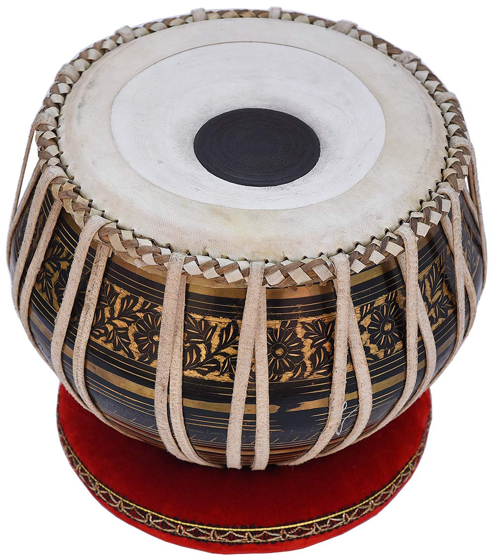 Tabla Drum Set, 2.5 Kg Black Painted Designer Brass Bayan, Beautiful Look, Sheesham Wood Dayan, Hand Made Drum Skin, Camel Leather Strap to Tune, Comes with Tuning Hammer, Gig Bag, Cushion & Cover by Kaayna Musicals (Image #9)