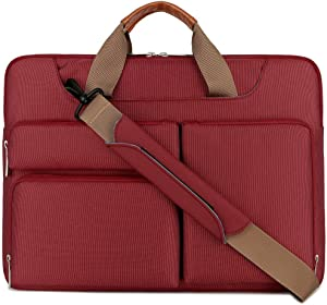 "Lacdo 360° Protective Laptop Shoulder Bag Sleeve Case for 13 Inch New MacBook Air | 13 Inch New MacBook Pro 2016-2020 | Surface Book 3 2 | MacBook Pro 2012-2015 | 13"" HP Acer ASUS Computer, Red"