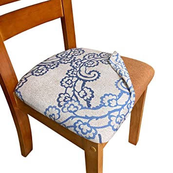 Melaluxe Stretch Printed Dining Room Chair Seat Covers, Removable Washable  Anti-Dust Upholstered Kitchen Chair Seat Cushion Slipcovers (Pack of 2)
