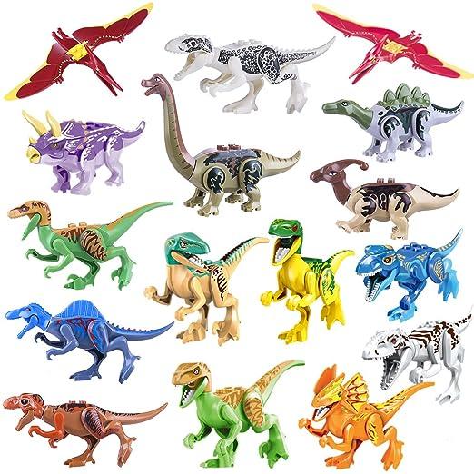 Spieland 16St. Spielzeug Dinosaurier Figuren 3D Puzzle Jurassic World Bausteine für Kinder, , passen zum Lego