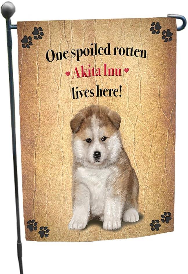 Akita Inu Spoiled Rotten Dog Garden Flag