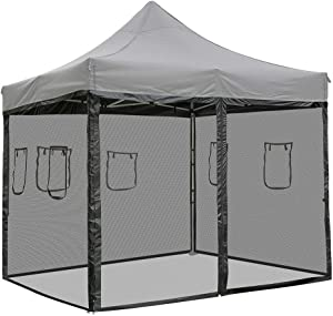Chi Mercantile 4 Mesh Sidewalls Dust Elements Bug Protection with Windows and Zippered Entrance for 10 x 10 Canopy Tent Food County Fair Concession Vendor Stand (for 10' x 10 Canopy)