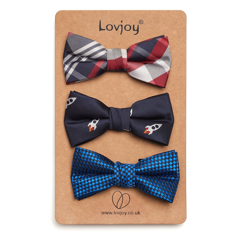 Lovjoy Confezione da 3 papillon gi/à annodati con cinghia regolabile adatti per bambini da 1 a 5 anni di et/à