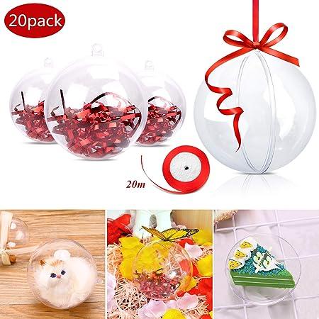 20 x 8cm plastique transparent boules 2 partie noël boules 8cm-craft boule