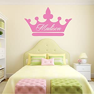 Room Wall Decor - Princess Crown with Customized Name Vinyl Decal Stickers for Home in Teen, Kids, Baby Girls Bedroom, Bathroom, Nursery or Dorm - Custom Sizes and Colors Fit Any Themed Living Space