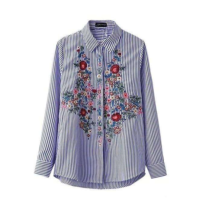 Mujer 3/4 de manga larga Blusa Camiseta de la raya Frente Bordado Floral Patrón