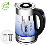 Electric Kettle (BPA Free), Chefavor 1.8 L 2200W, Smart Temperature Controllable with LCD Display, Removable Tea Infuser & Warmer Cup Glass, Boil-Dry Protection &Intelligent Heat Preservation