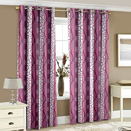 StoryHome Nature Geometrical Polyester Premium Window 2 Pieces Eyelet Curtains Bedroom 5 Ft