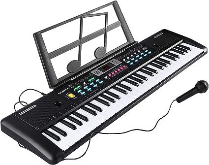 RenFox Teclado portátil de 61 Teclas Teclado de Piano con Atril, Micrófono, Música Digital (Negro)