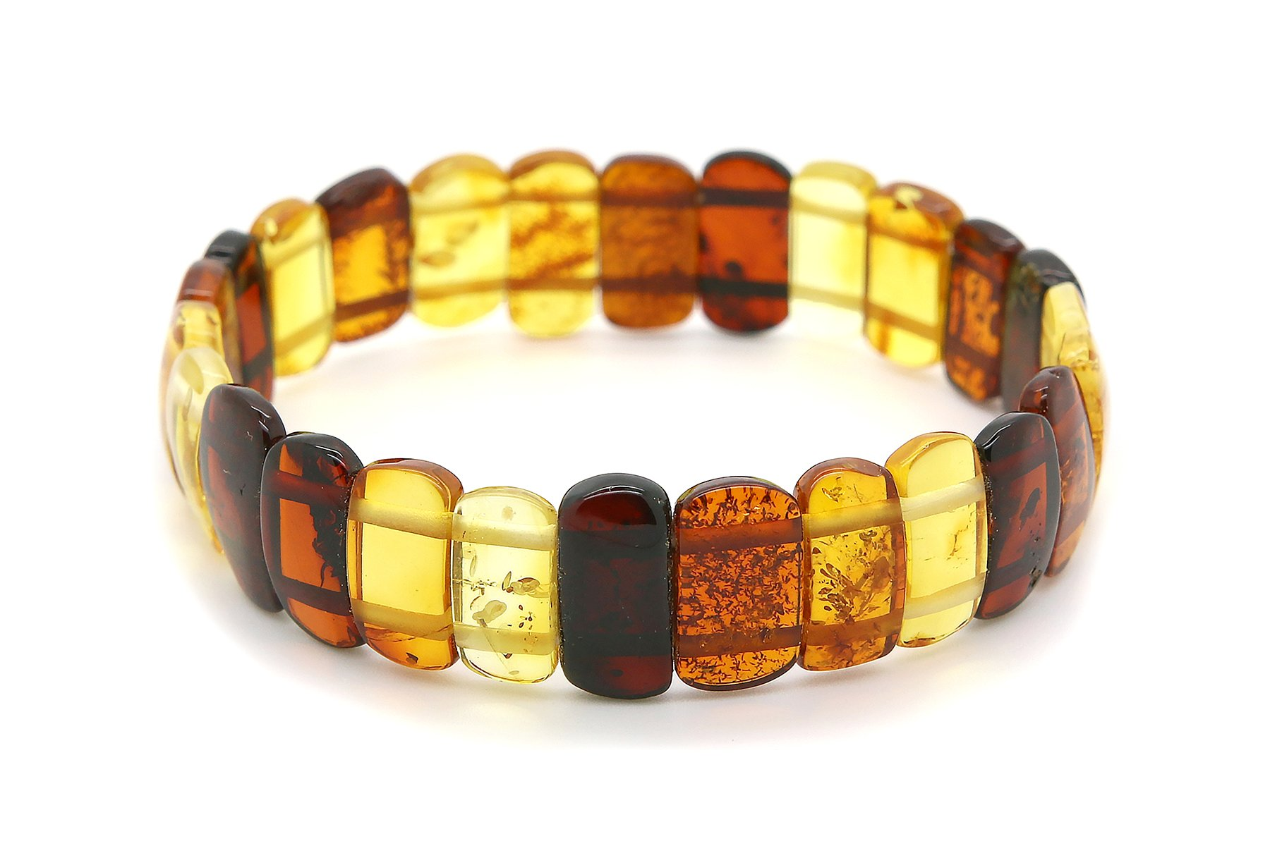 Genuine Natural Baltic Multicolored Amber Stretch Bracelet For Women by AmberDeals (Image #2)