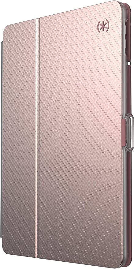 Speck Products BalanceFolio iPad Clear 10.2 Inch Case and Stand (2019), Rose Gold Woven Metallic/Clear