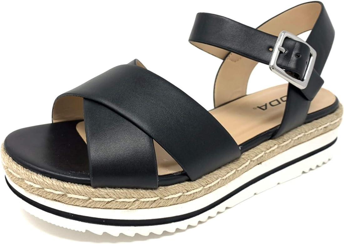 7 M US, Black SODA Clip Topshoe Avenue Womens Open Toe Ankle Strap Espadrille Sandal