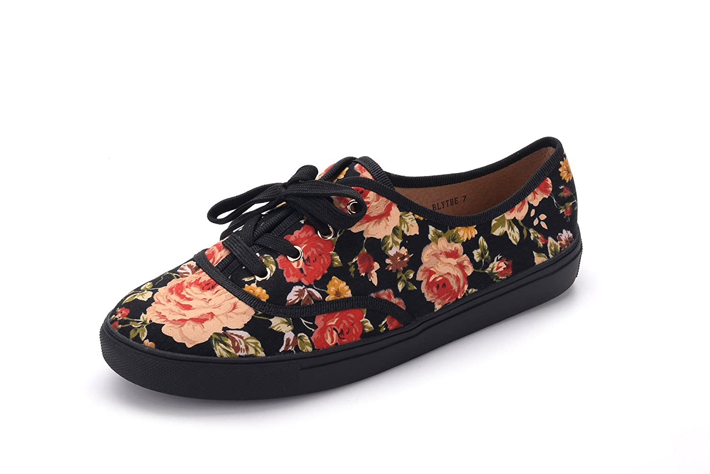 GREENS BLYTHEE Women Canvas Floral Lace Up Flat Sneaker FL//Black 6.5