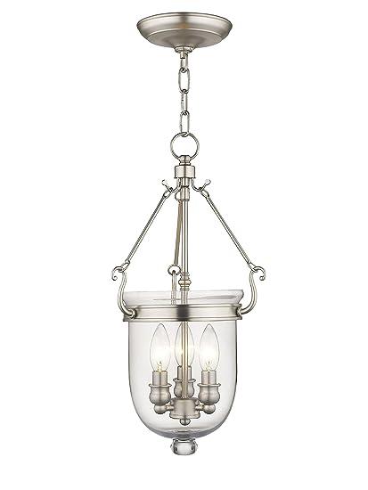 bell jar lighting fixtures. Livex Lighting 5063-91 Jefferson 3 Light Brushed Nickel Bell Jar Hanging Lantern With Clear Fixtures