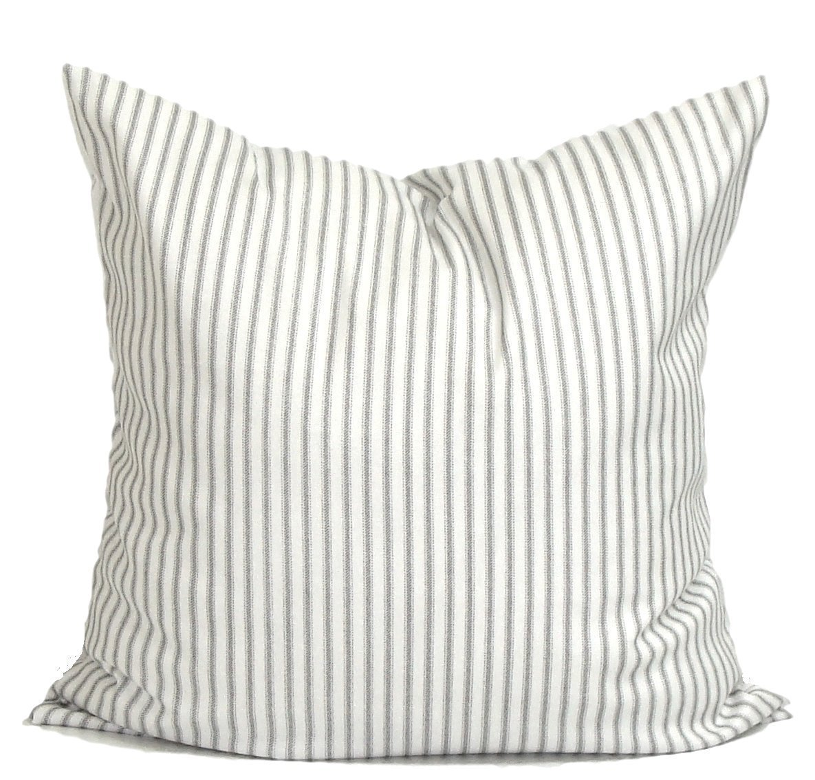 Gray Ticking Pillow Cover, Ticking Throw Pillow Cover, Decorative Pillow Cover, Ticking Stripe Throw Pillow, Farmhouse Pillow, Any Size, Gray Ticking Pillow, Grey Stripe Pillow.Farmhouse Pillow Covers