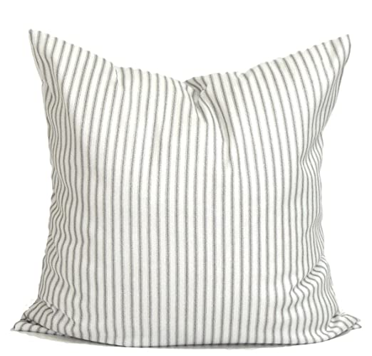 Amazoncom Gray Ticking Pillow Cover Ticking Throw Pillow Cover