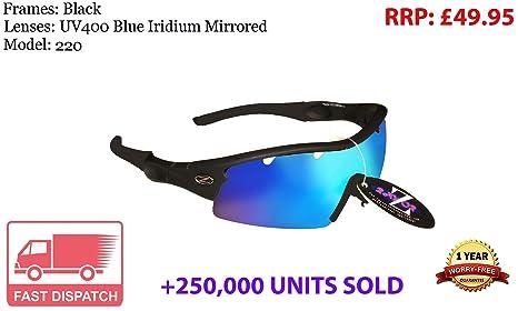 401 RayZor Uv400 White Sports Wrap Sunglasses Vented Blue Mirrored Lens RRP£49