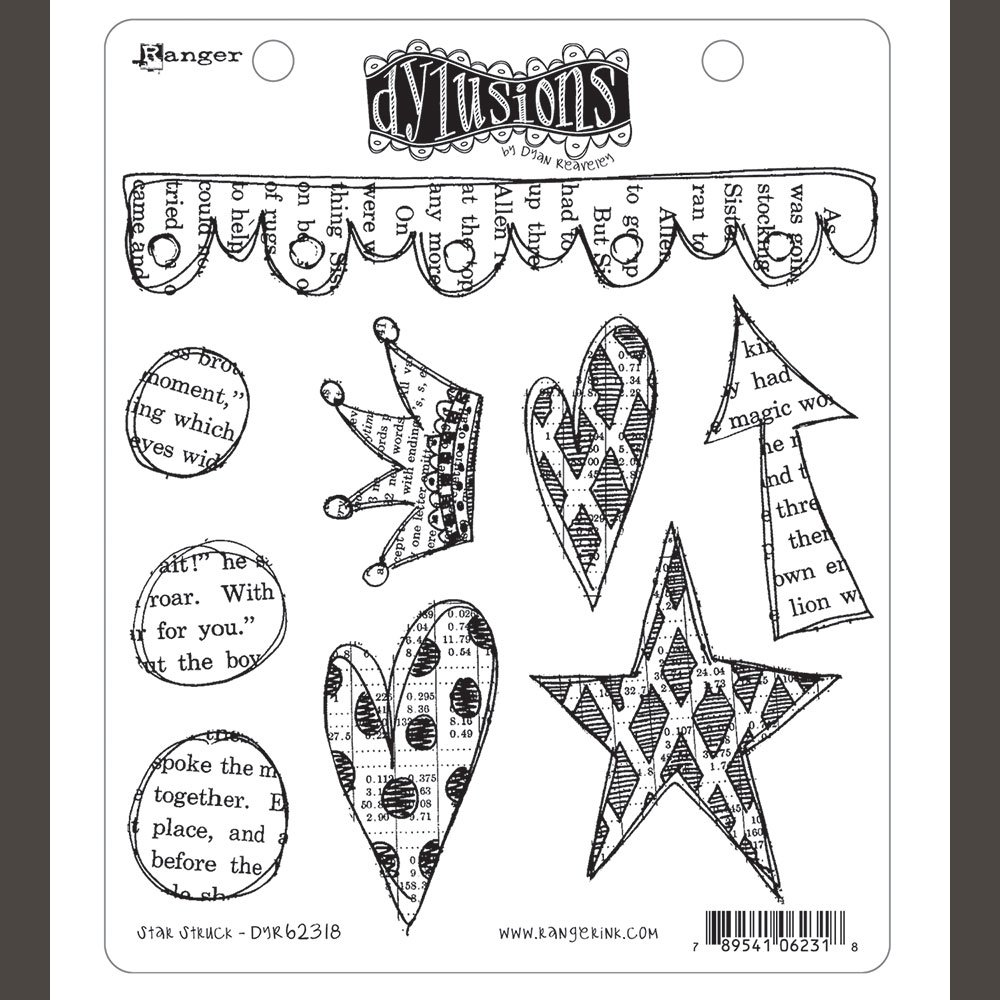 Ranger DYR62318 Dyan Reaveley's Dylusions Cling Stamp Collections 8.5X7 Star Struck, Multi