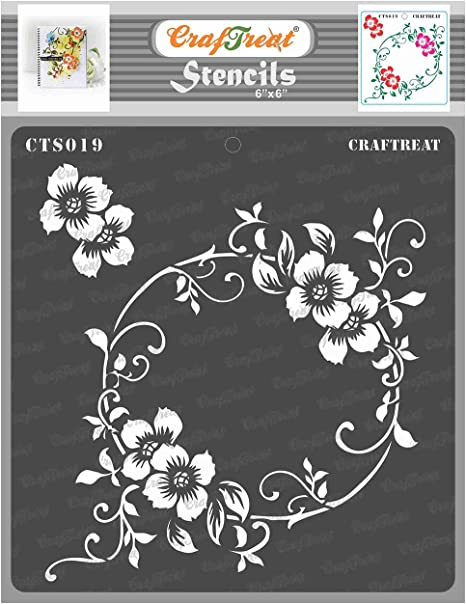 Paper Wall and Tile Canvas 2 Step Daisy 6x6 Inches Fabric Floor Reusable DIY Art and Craft Daisy Stencils for Painting Flowers CrafTreat Layered Flower Stencils for Painting on Wood