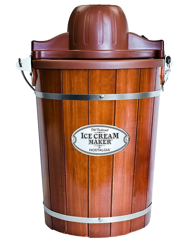 White Mountain New Nostalgia Electric Ice Cream Maker with Wooden Bucket, 6 Quart 6-Quart(ICMP600WD)