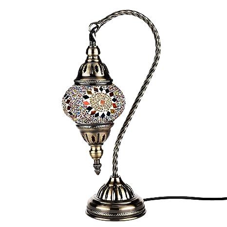 Lámpara Turca de Mesilla de Noche Vintage para Dormitorio Mosaico Swan Neck, Base Bronze (Multicolor)