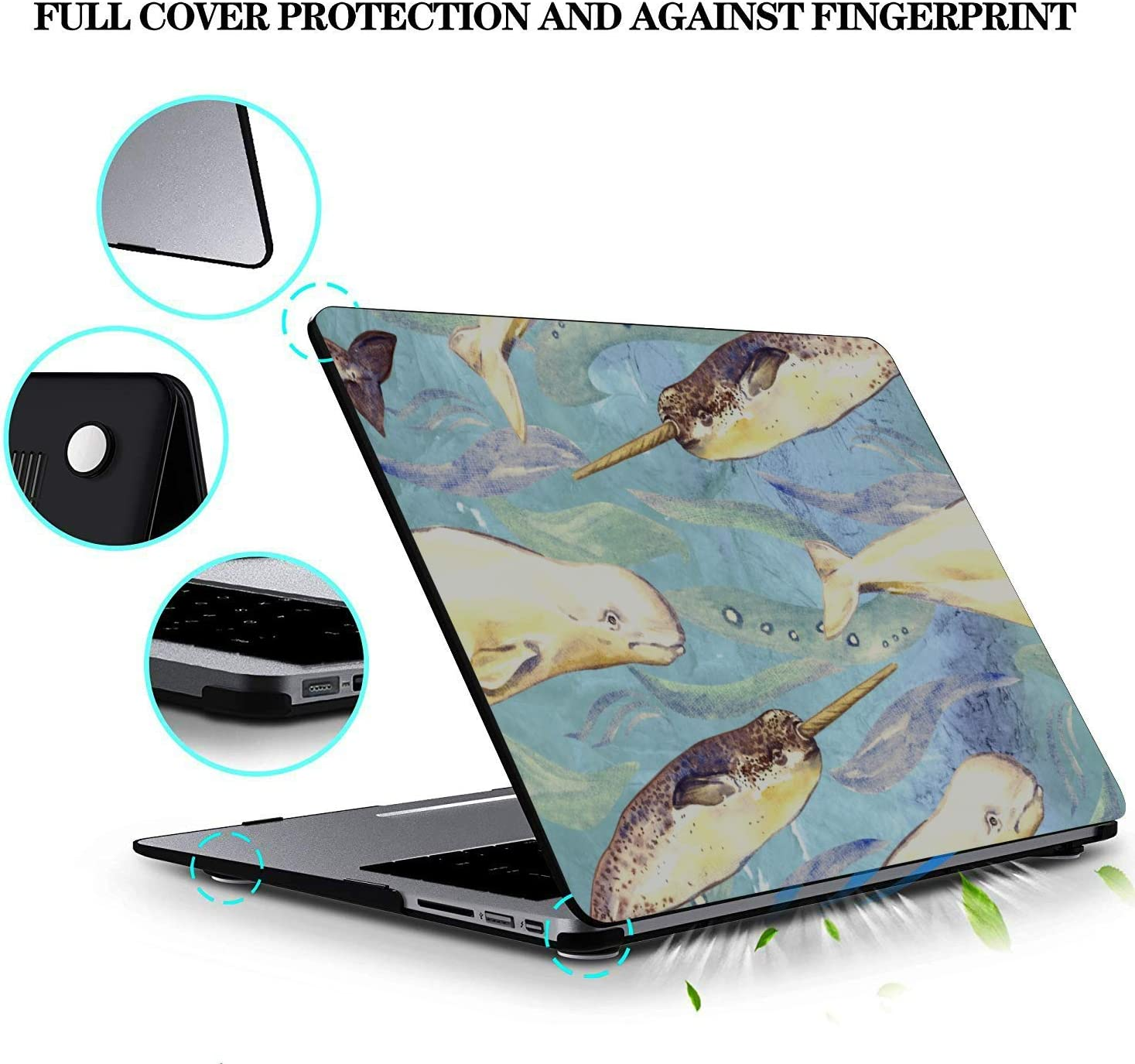 MacBook Pro A1708 Case Sea Creatures Ornamental Fish Squid Plastic Hard Shell Compatible Mac Air 11 Pro 13 15 MacBook Pro 2017 Accessories Protection for MacBook 2016-2019 Version