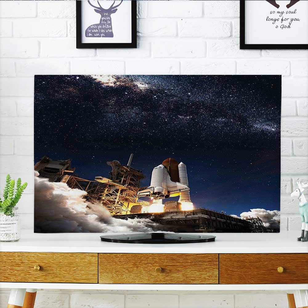Auraisehome tv Protective Cover Shuttle on Take Off Discovery Mission to Explore Galaxy Spaceship Solar Adventure Blue tv Protective Cover W30 x H50 INCH/TV 52'' by Auraisehome